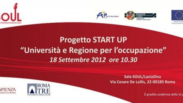 Progetto START UP: Università e Regione per l'occupazione