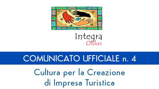 """Comunicato Ufficiale n. 4 - Progetto """"Impresa Turistica"""""""